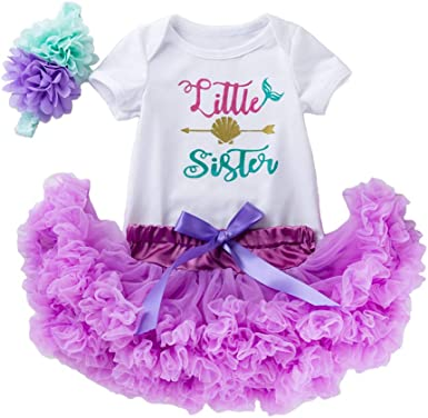 Girl Baby First Birthday Party Outfit Mermaid Romper Tutu Dress Headband Clothes
