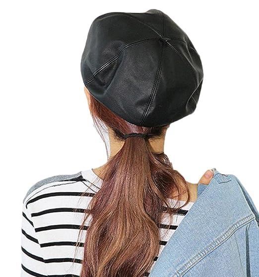 f32fd0234b6 Gerilea Sexy Black Warm Leather Beret Cloche Fedora Beanies Hat for Teen  Girls