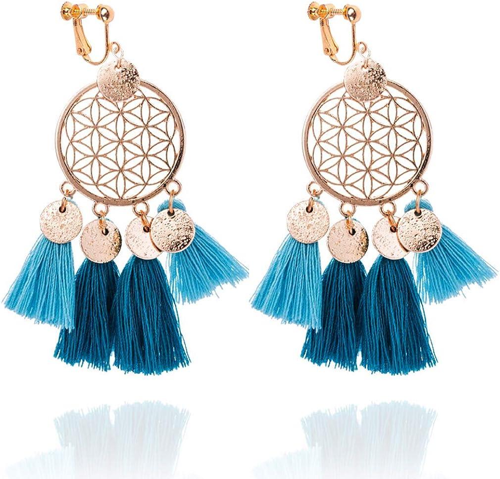 Gold Dream Catcher Round Earrings Hook Earrings Tassel Earrings Statement Jewelry Gold Earrings Women Jewelry Green Stone Earrings