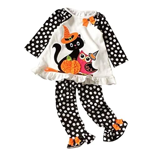 Baby Girls Toddler Halloween Cat Pumpkin Dot Pant Set Outfits