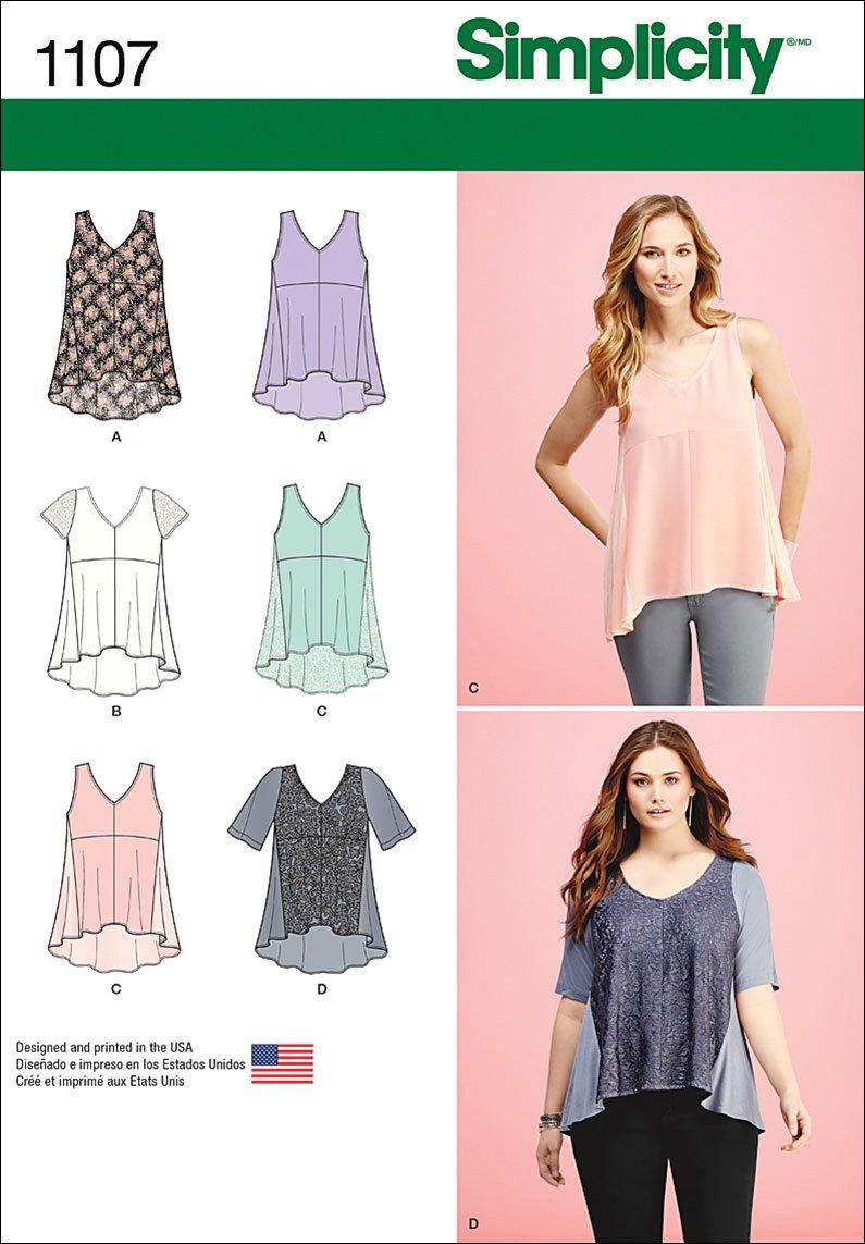 Size XXS-XXL Simplicity 1107 Womens Blouse Sewing Patterns