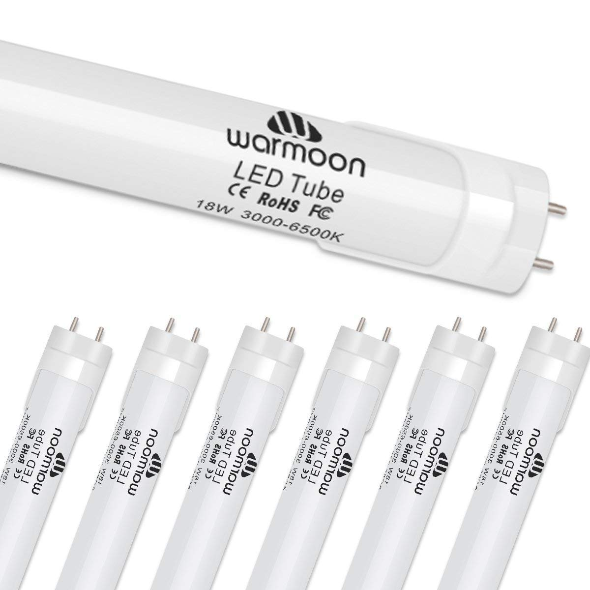 Warmoon T8 LED Light Bulbs 4 Foot 18W Equivalent 40W Frosted Cover DSW 3-in-1 3000K-6500K Color Changing Tube for Shop Hospitals Supermarkets Schools Offices - 6 Pack