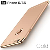 Ron 3-in-1 Shockproof Dual Layer Thin Back Cover Case for Apple iPhone 6/6S (Gold)