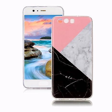 Funda Huawei P10 Mármol, Yunbaozi Diseño Mármol Carcasa Suave Goma Silicona Soft Marble Case Textura de Piedra Natural Funda Liso Flexible ...