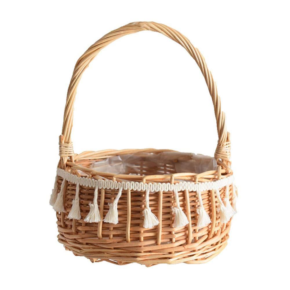 -20 20 25cm Flower Girl Baskets Flower Basket Canastas de Mimbre con Asas Maceta Decorativa Maceta Decorativa para cestas y picnics de Frutas y Verduras