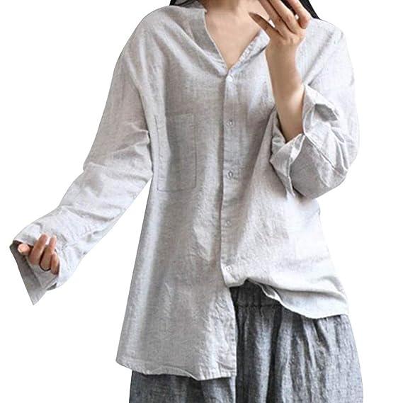 Luckycat Mujer Manga Flare Blusa Delgado Color Sólido Camisa Cuello EN V Botones Blusa: Amazon.es: Ropa y accesorios