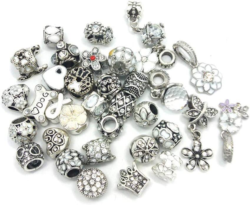 06 YIQIFLY 40pcs Jewelry Making Charms Rhinesotone Beads Assorted Colors and Styles Randomly
