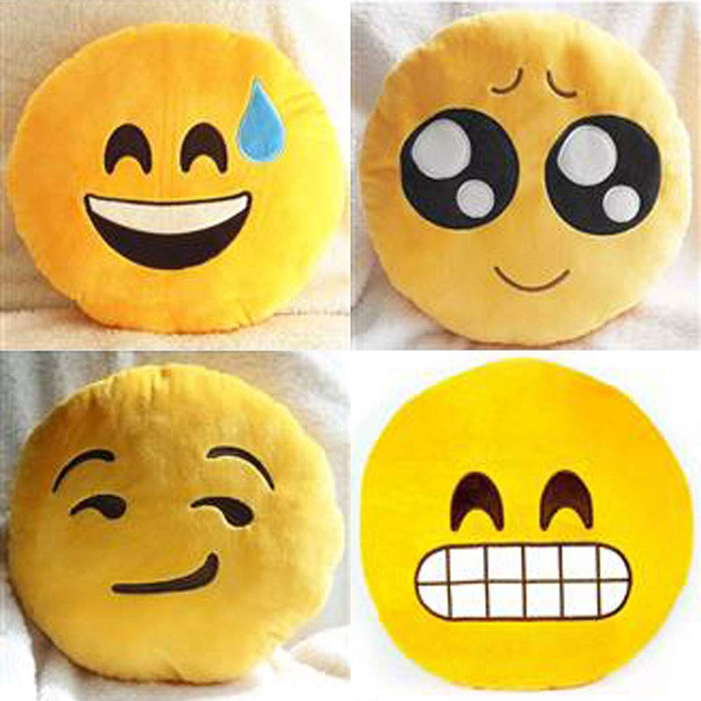 Aaf Textiles Brand round yellow cushion, pillow (Heart Eyes1) Soft Emoticon