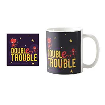 Buy YaYa CafeTM Birthday Gifts For Brother Double Trouble Quote Printed Mug 330 Ml Rakhi Online At Low Prices In India