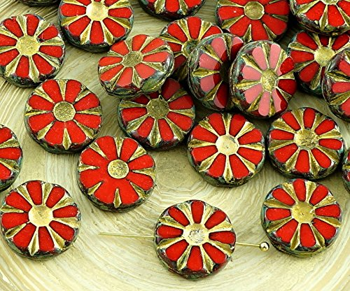 8pcs Picasso Coral Red Gold Wash Table Cut Flower Flat Coin Czech Glass Beads 12mm