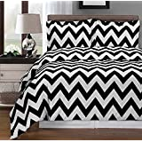 Black and White Chevron 8-piece California-King Bed-in-a-Bag 100 % Egyptian Cotton 300 Thread Count by Royal Hotel