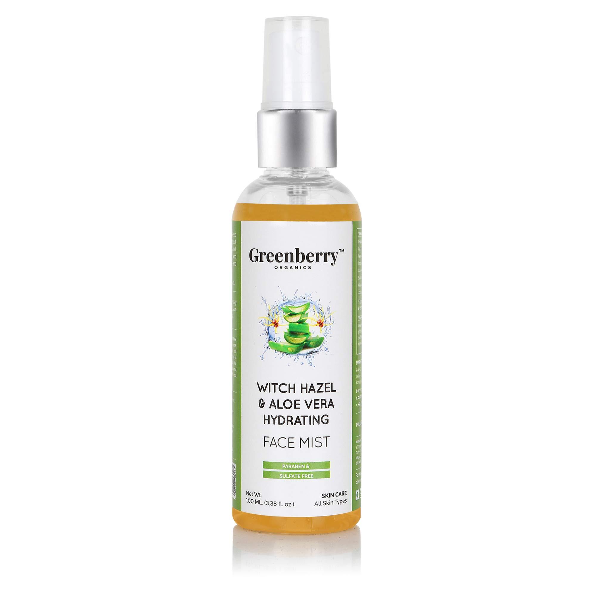 Greenberry Organics Witch Hazel & Aloe Vera Hydrating Face Mist for Men & Women, 100 ML product image