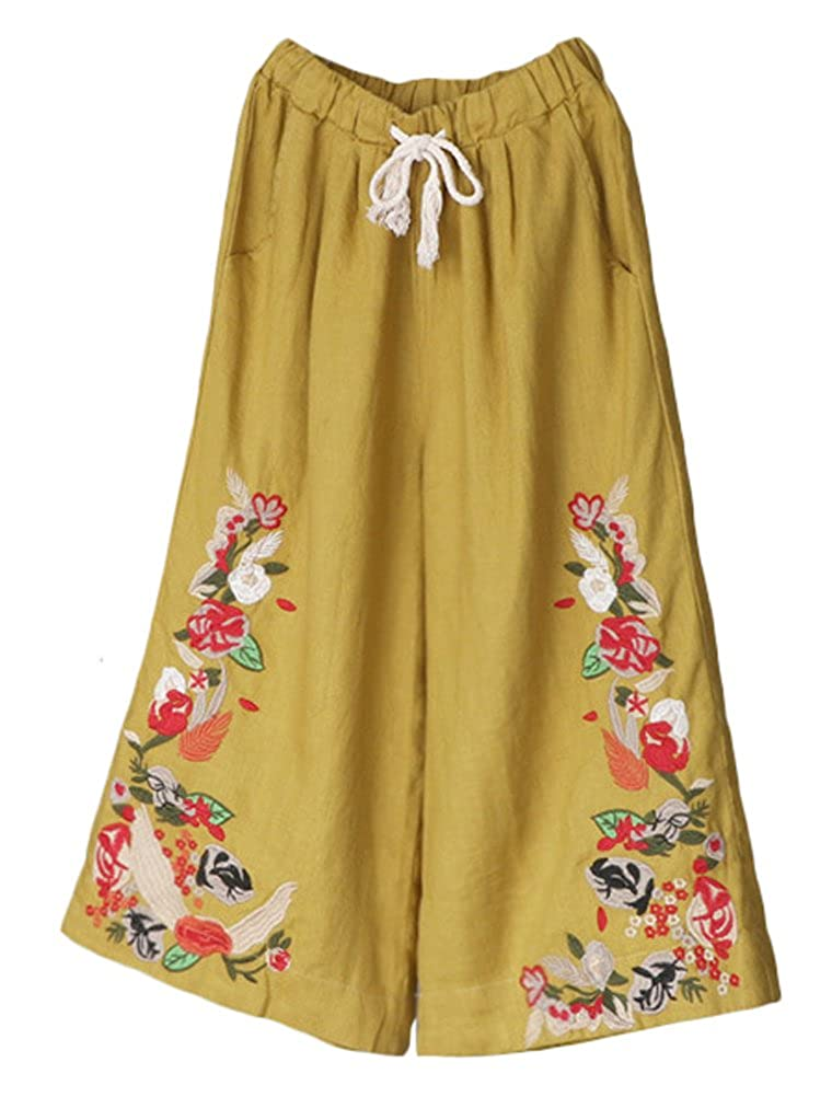 Yellow Minibee Women's Wide Leg Pants Elastic Waist Floral Embroidery Drawstring Capri Trousers Fit US 012