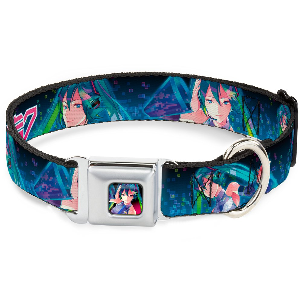 Buckle-Down 15-23  HATB-Hatsune Miku Listening Pose Full color Pink Fade  Dog Collar, Large