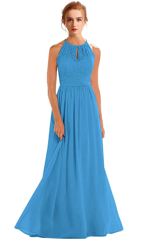 bluee VaniaDress Women Halter Sleeveless Long Evening Dress Formal Gowns V266LF