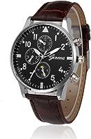 Hot Sale! Napoo Men Retro PU Leather Band Analog Alloy Quartz Wrist Watch