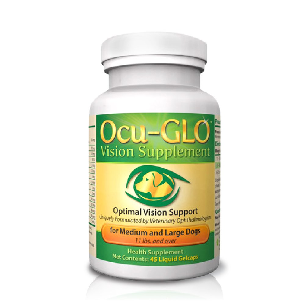 Medium to Large Dogs (11+ lbs) 45 Gelcaps Medium to Large Dogs (11+ lbs) 45 Gelcaps Ocu-GLO Vision Supplement for Dogs by Animal Necessity Antioxidant Vision Predect Against Diabetic Cataracts and Age-Related Eye Problems Medium and Large Dogs (11+ lbs) 4