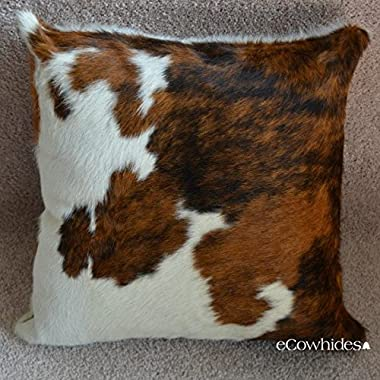 Cowhide Pillow Tricolor Cow Hide Cushion Decorative Throw Pillows (Single Side) By Ecowhides