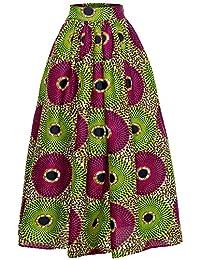 Shenbolen Women African Print Skirts Dashiki Long Skirt