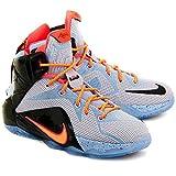 685185-488 Nike Toddler Lebron 12 Aluminum/Sunset Glow/Black/Hot Lava Basketball Shoes Size 10c