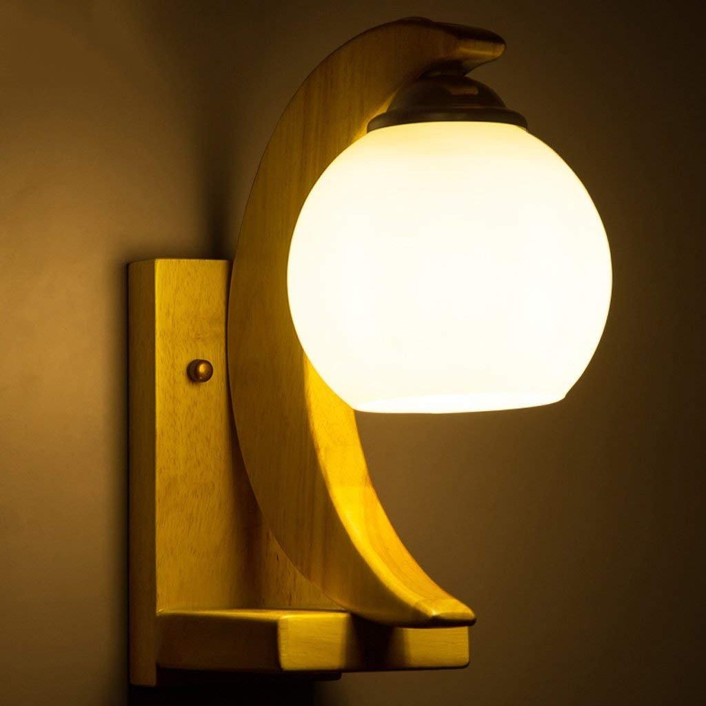 YAN Nachttisch Wandleuchte Moderne Garten Stil Holz Farbe Holz Wohnzimmer Lampe Restaurant Gang Minimalistische Form Wand