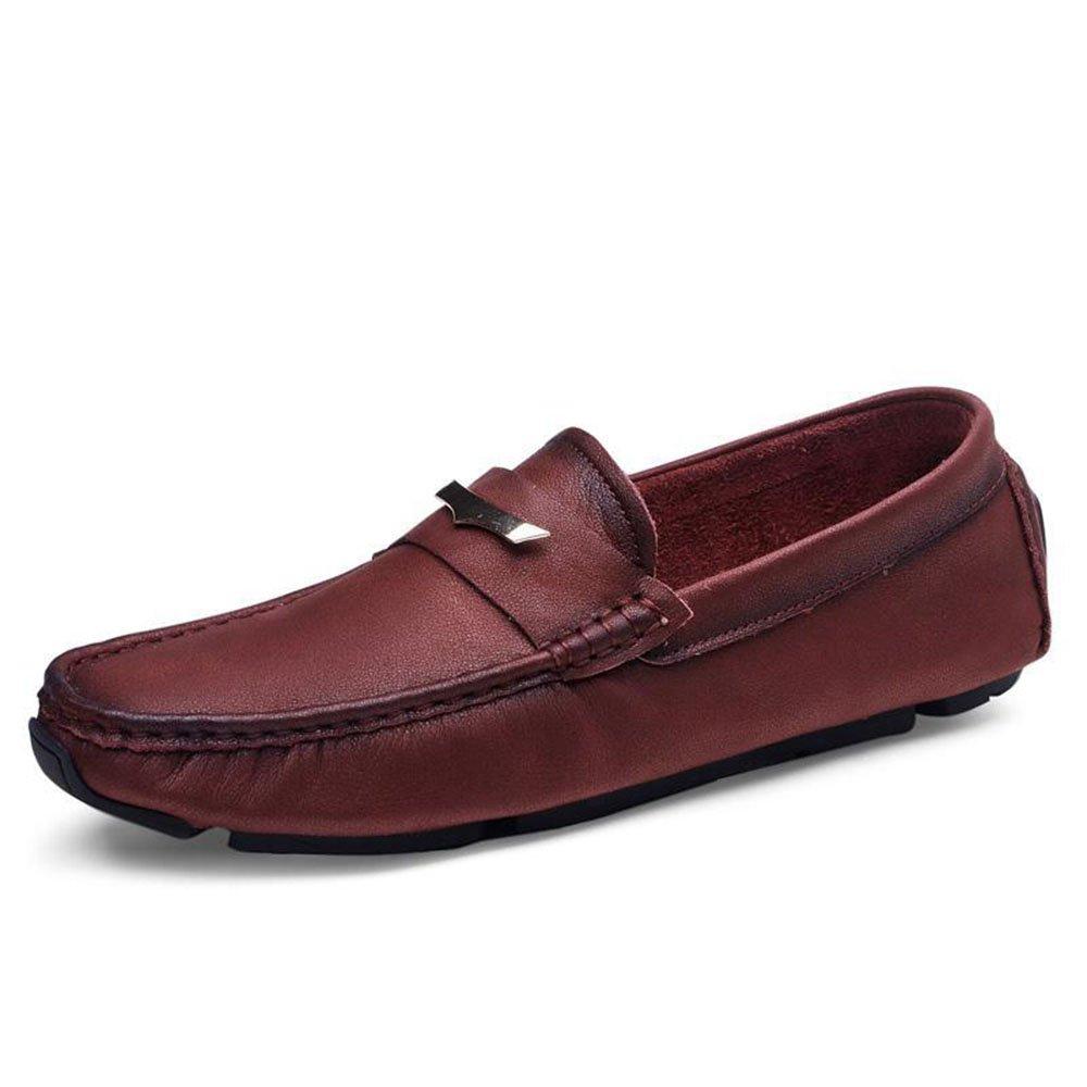 AFCITY Sommer Männer Echtes Leder Schuhe Weichen Boden Geschäft Casual Schuhe Klassischer Stiefelschuh (Farbe : Blau, Größe : 38 2/3 EU) Rot