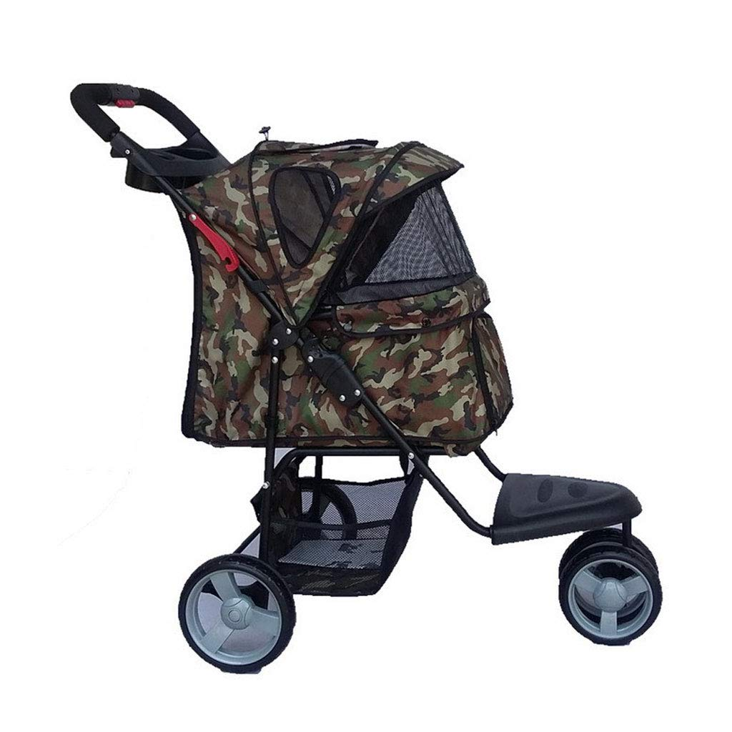 Camouflage A3 Pet Stroller Multi-Function Foldable Dog Stroller Tear-Resistant 360° redating Front Wheel for Pets Out. Dog cart (color   Camouflage)