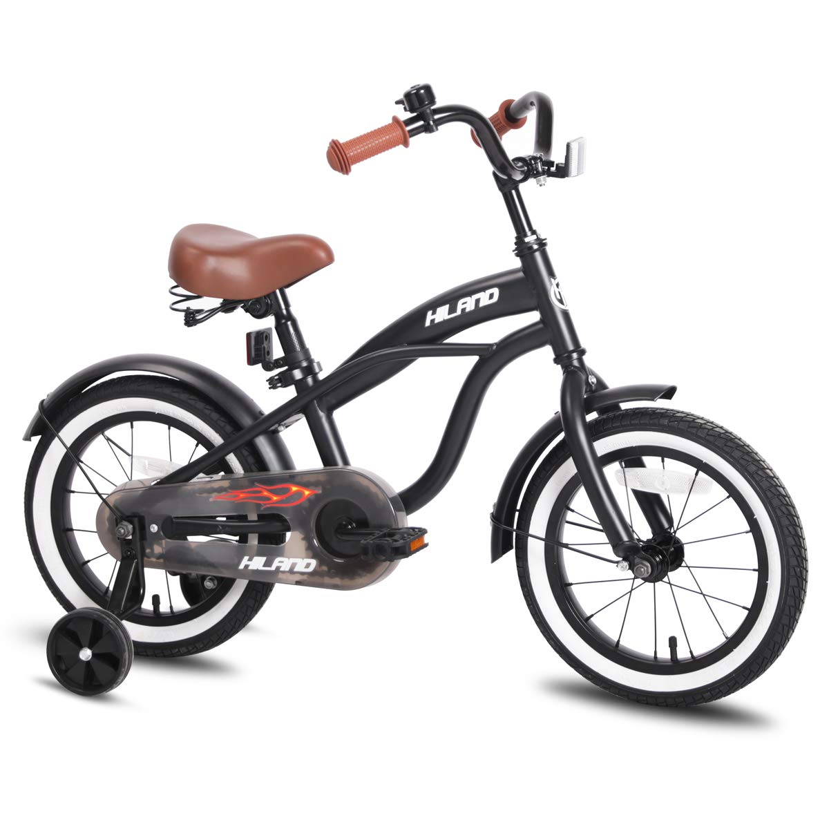 JOYSTAR Kids Bike with Training Wheels for Girls & Boys, 12 14 16 Inch (Red Orange Blue Silver) product image
