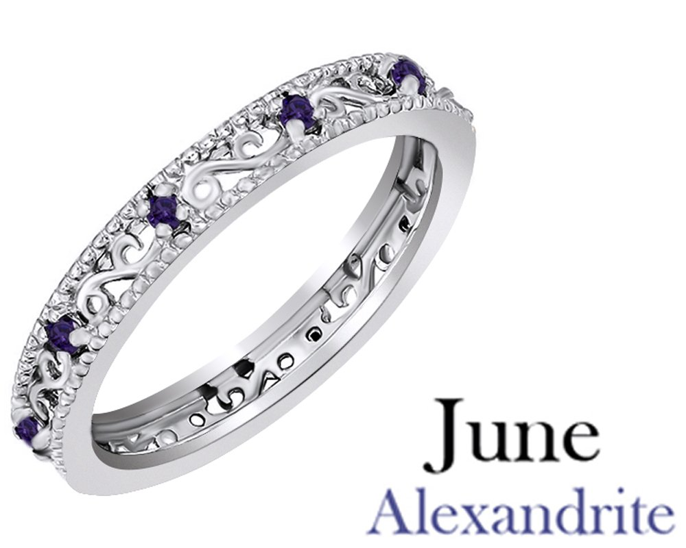 Jewel Zone US Round Cut Purple Simulated Alexandrite Stackable Ring In 14K White Gold Over Sterling Silver