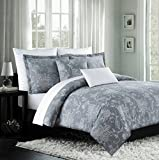 Nicole Miller Luxury Embroidered Duvet Cover Set Gray White Ornate Grey Floral Scroll Design 300TC Cotton 3 piece Bedding Set (King)