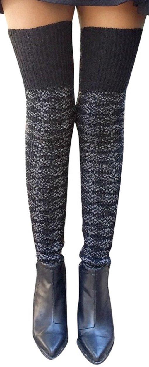 AM Landen Wool Blend Knee Highs,Thigh High,Cuffs Knit Crochet Leg Warmer(Thigh High Black) by AM Landen (Image #3)