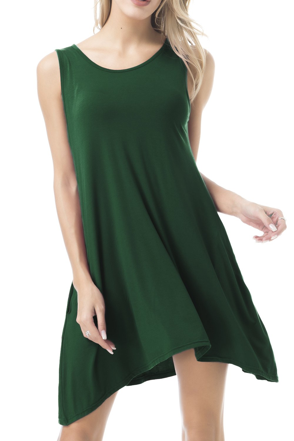 FISOUL Women Tops O-Neck Sleeveless Dress With Double Pockets Loose Bottoming Shirt Green M by FISOUL (Image #1)