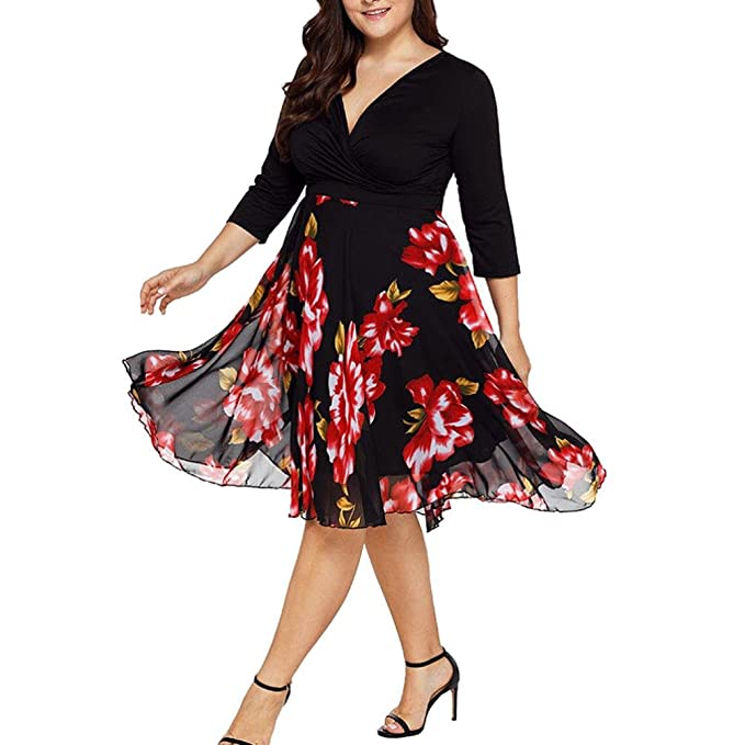 Chiffon Midi Dresses Women V Neck Wrap Floral Long Sleeve Prom Dress Plus Size MEEYA