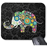 Schoolsupplies Colorful Retro Floral Elephant Mouse Pad - Stylish, durable office accessory and gift