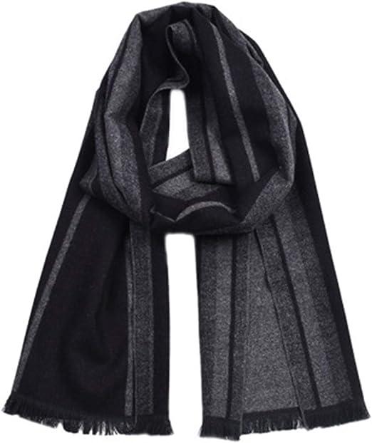 HEIFEN Moda de Hombre Bufanda británica Caballero a Rayas Estilo algodón Rayas Borla Bufanda Invierno 2pcs: Amazon.es: Hogar