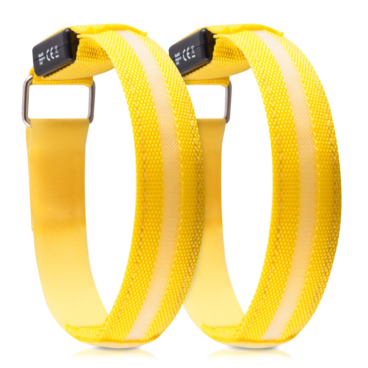 Outdoor Sports Bands for Jogging Cycling Walking Glow in the Dark Safety Bracelet for Arm kwmobile 2x LED Light Armband Ankle Leg