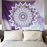 Purple Mandala Tapestry Wall Hanging Hippie Bohemian Tapestries Flower Psychedelic Tapestry Indian Dorm Decor for Bedroom Dorm Decor