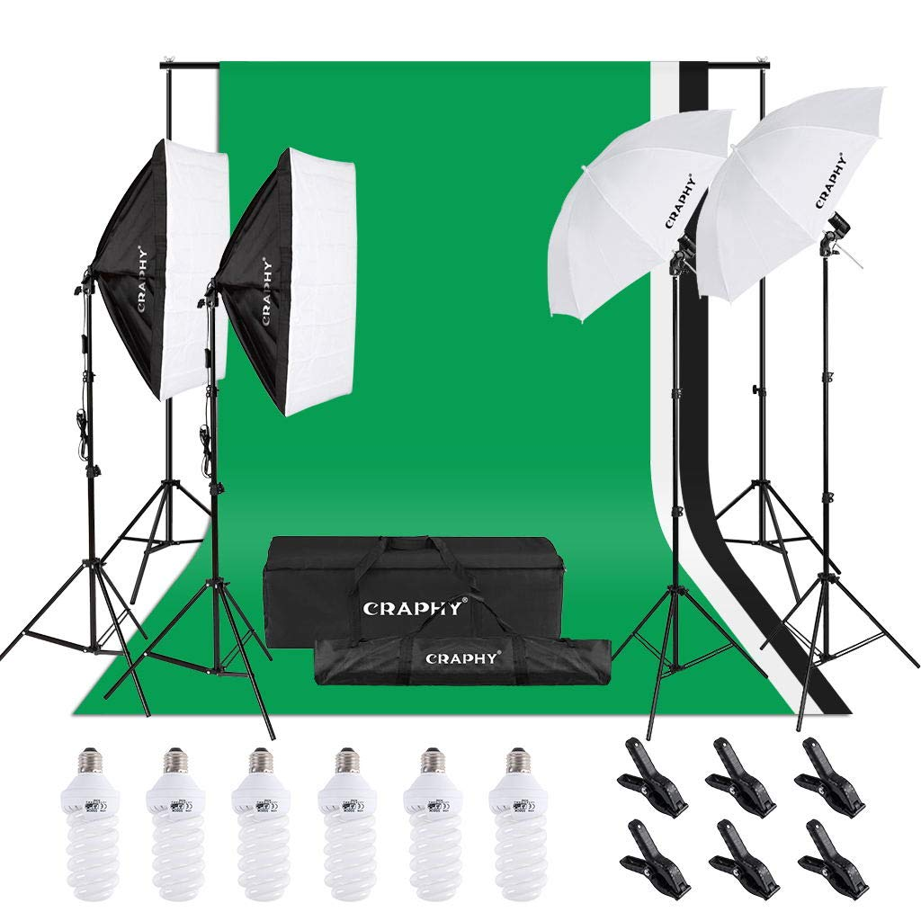 CRAPHY 1350W 5500K Umbrellas Softbox Continuous Lighting Kit with 8.5ft x 10ft Background Support System and Muslin Backdrop for Photo Studio Video Shooting, Portrait and Product Photography by CRAPHY