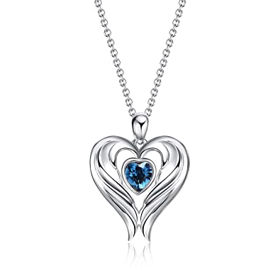 8527a52779abd Amazon.com: WINNICACA Angel Wings Necklaces Sterling Silver Heart ...