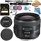 Canon EF 35mm f/2 IS USM Lens 5178B002 + 67mm 3 Piece Filter Kit + 64GB SDXC Card + Lens Pen Cleaner + Fibercloth + Lens Capkeeper + Deluxe 70 Monopod + Deluxe Cleaning Kit Bundle