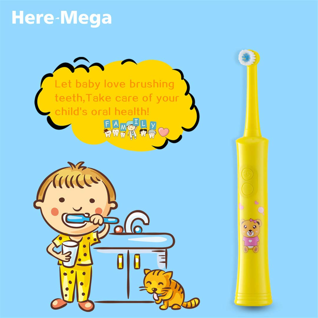 Amazon.com: Rotating Children Electric Toothbrush Tooth Brush Teeth Electric Toothbrush Rechargeable Hygiene Dental Care R01 R01 yellow 4heads: Beauty