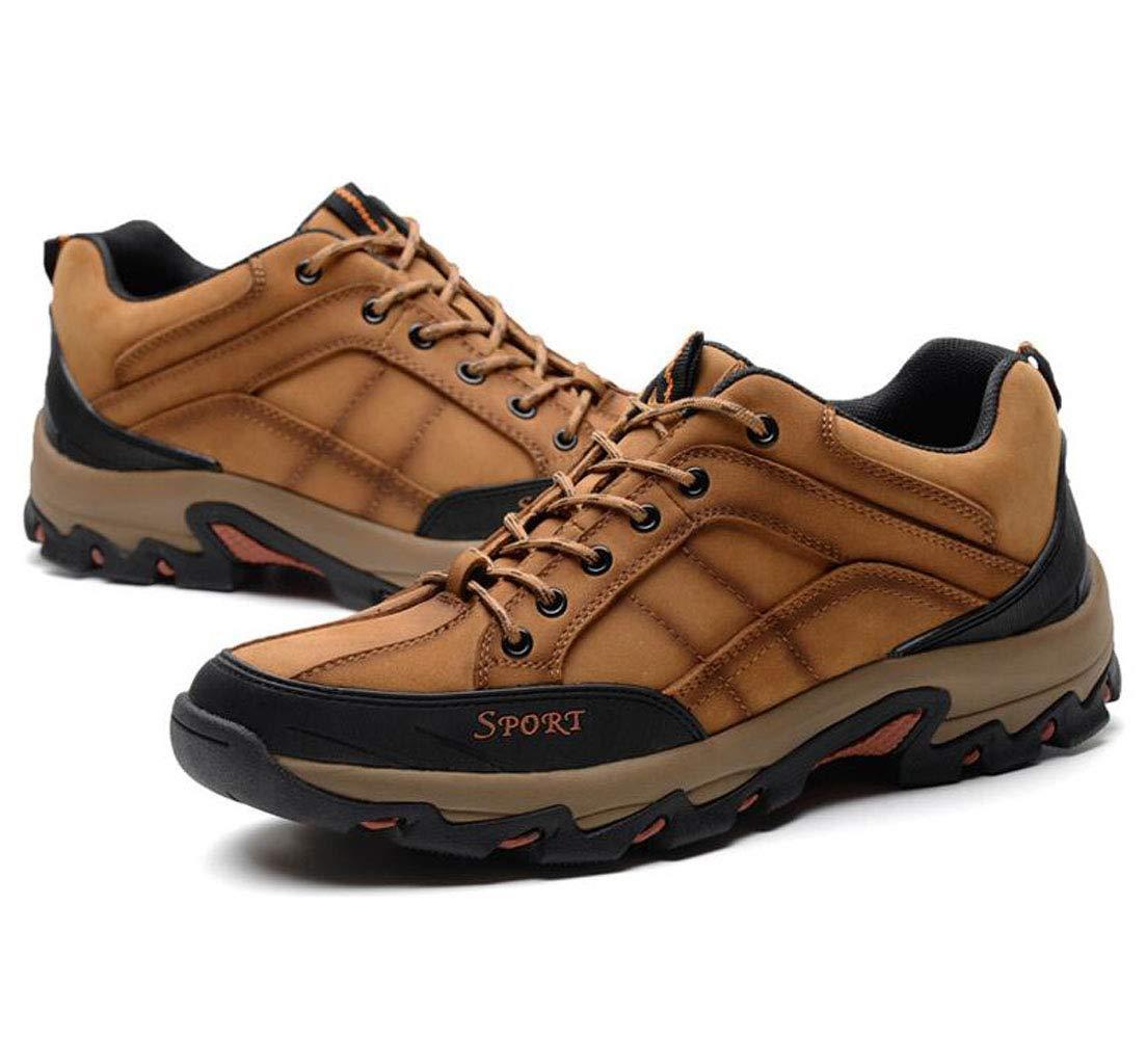 Herren Outdoor Wanderschuhe Wasserdichte Leder Wanderschuhe Niedrige Größe Komfort Leichte Rutschfeste Lace-Up Casual Schuhe (Farbe   braun größe   39)