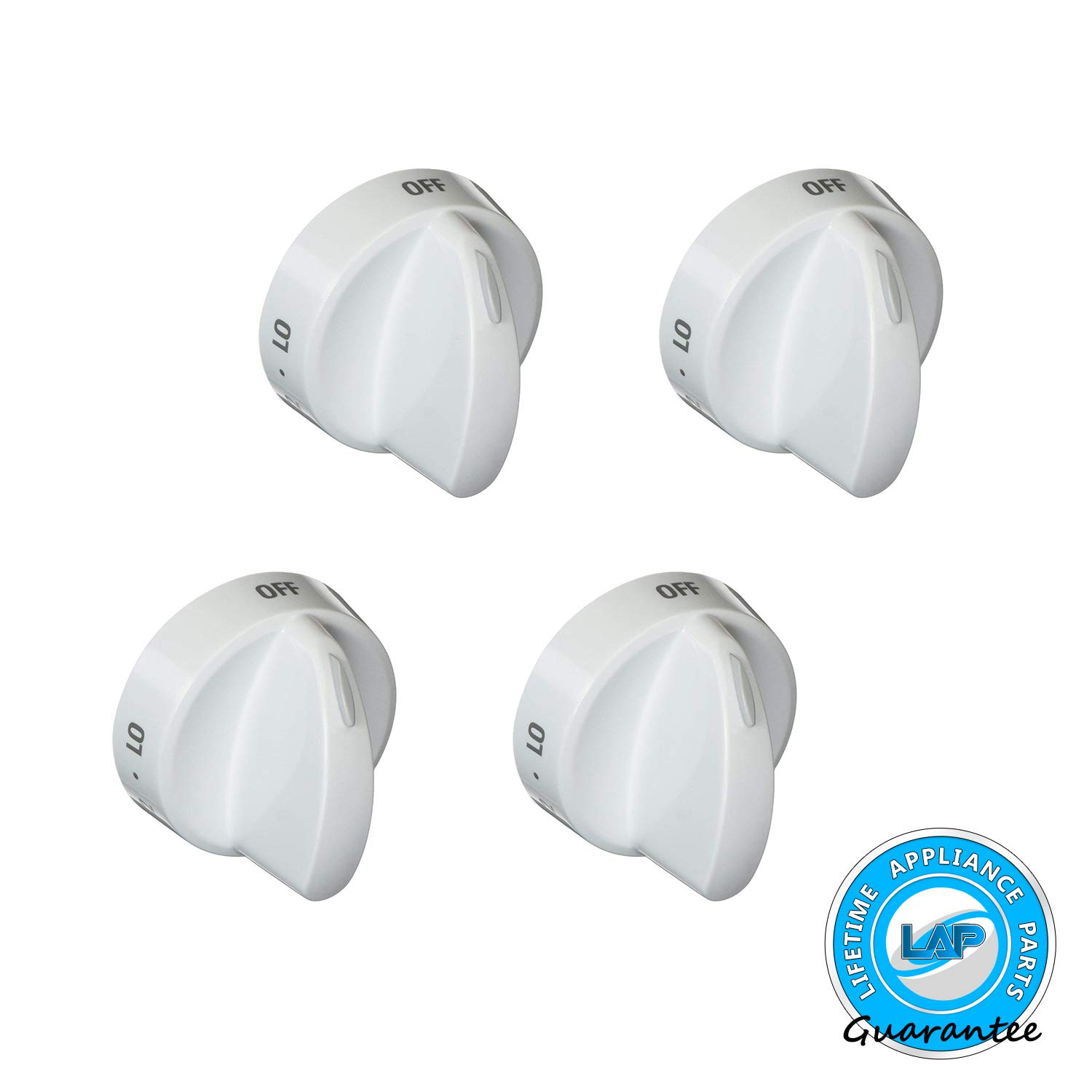 Lifetime Appliance 4 x 316442512 Surface Burner Knob Compatible with Frigidaire, Kenmore, Sears Range Oven