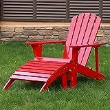 Songsen Outdoor Log Wood Adirondack Chair & Ottoman Patio Deck Garden Furniture - Red