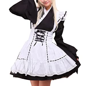 Patiss Women's Cotton Ruffles Cute Lolita One-Piece Dress,S,White
