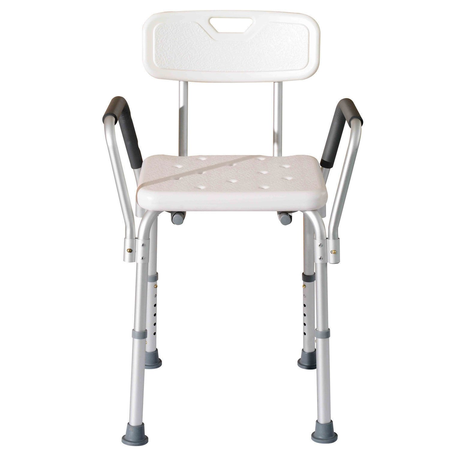HomCom Adjustable Height Mobility Medical Grade Shower Seat Bath Chair With Removable Arms