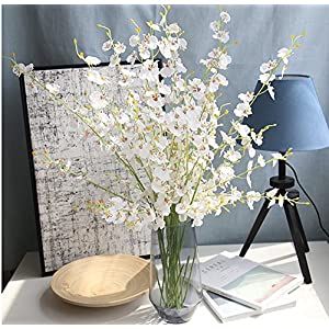 HuanhuaTC 8pcs Artificial Orchids Realistic Fake Flowers Arrangement for Home Party and Wedding Decor (White) 2