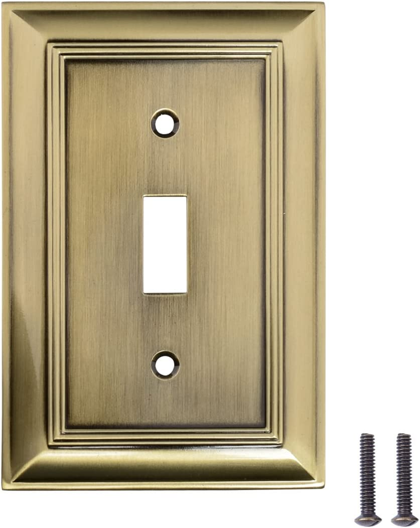 AmazonBasics AB-6014 Single Toggle Wall Plate, 1 Gang, Antique Brass, 3 Pack