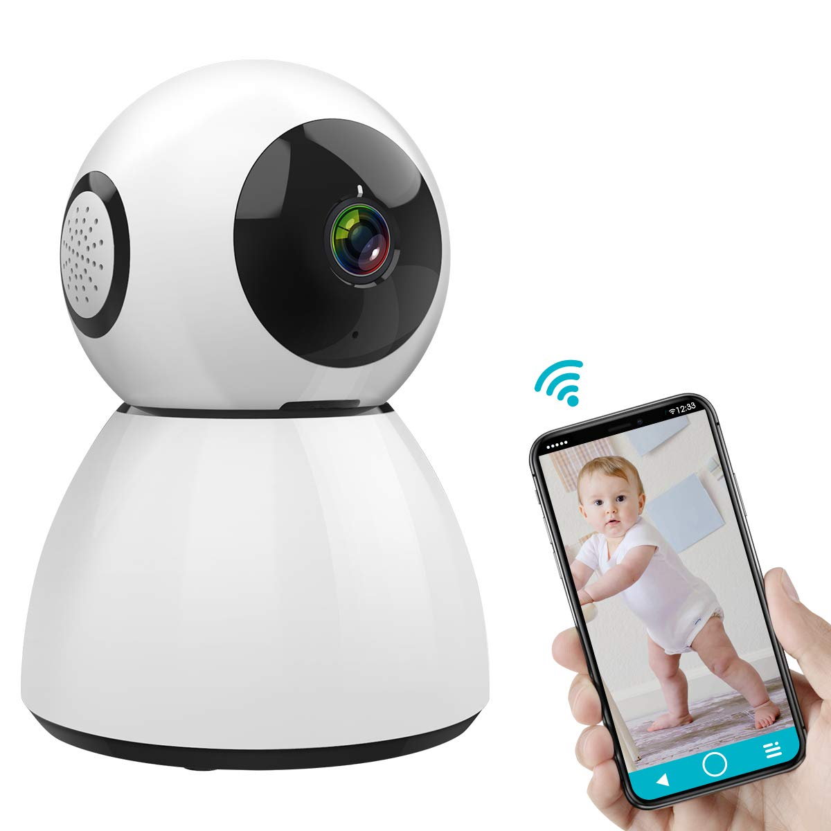 SAWAKE Caméra de Surveillance, 1080P HD Caméra de Sécurité, Caméra IP WiFi sans Fil, Audio Bidirectionnel, Storage Cloud, Vision Nocturne, Détection à Distance de Mouvements product image
