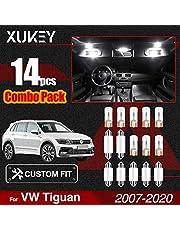 Xukey - Juego de 14 luces LED para Tiguan 2009 2010 2011 2012 2013 2014 2015 2016 2017 2018 2019 2020 Cúpula Tronco Matrícula Placas Canbus